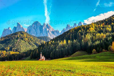 Captivating scenery in Dolomites with the St. John's in Ranui Chapel.