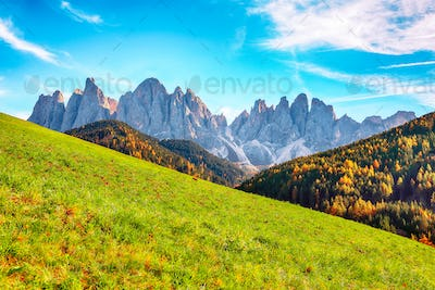 Autumn scene of  Santa Magdalena famous Italy Dolomites village view in front of the Geisler
