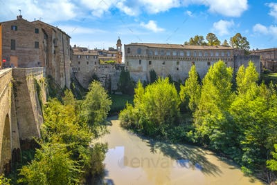 Urbania town and Ducal Palace. Marche region, Italy.