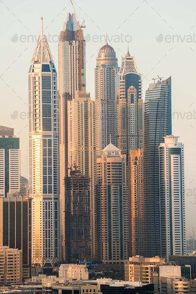 Skyline of modern skyscrapers in Marina district of Dubai, United Arab Emirates