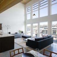 Open plan apartment interior.