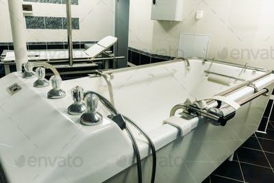 room for underwater shower massage and stretching on the table in the sanatorium. the office for the
