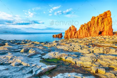 """Awesome sunset view of Red Rocks (called """"Rocce Rosse"""") in Arbatax."""