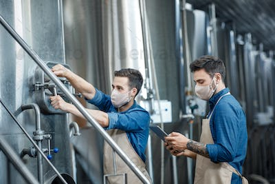 Workers at brewery and fermentation of beer to produce beverage