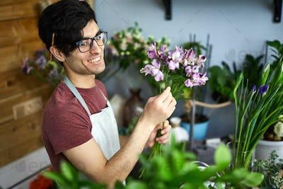 Working in flower-shop