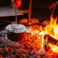 Cooking Damper on a Fire in Australia