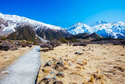 Hooker Valley Track at Mt Cook in New Zealand