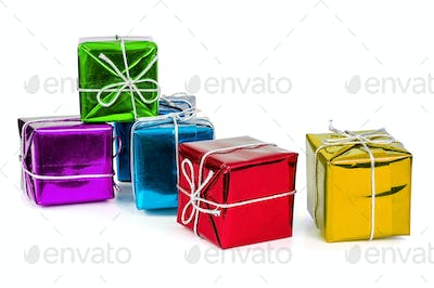 Group of colorful gift boxes with silver ribbons