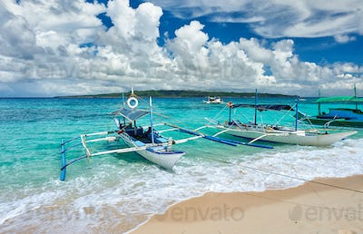 Beautiful beach with boat at Philippines
