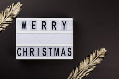 Merry Christmas lettering on lightbox.Festive composition