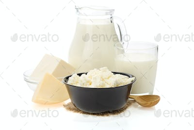 milk products isolated on white