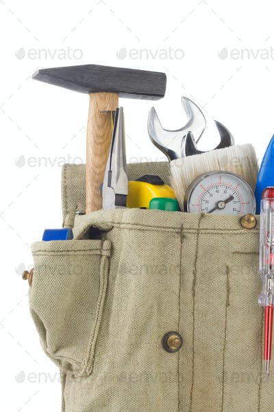 set of tools in bag box isolated on white