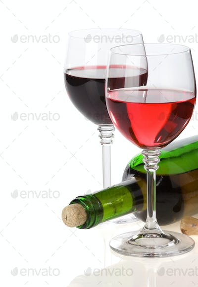 wine in glass and bottle isolated on white