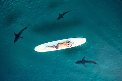 Girl on the Ocean with sharks