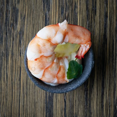 bowl of appetizer with boiled shrimp