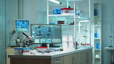 Empty laboratory modernly equipped with nobody in it