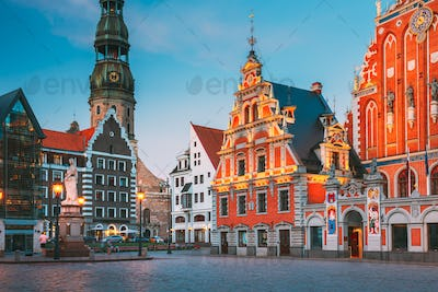 Riga, Latvia. Scenic Town Hall Square With St. Peter's Church, Schwabe House, House Of