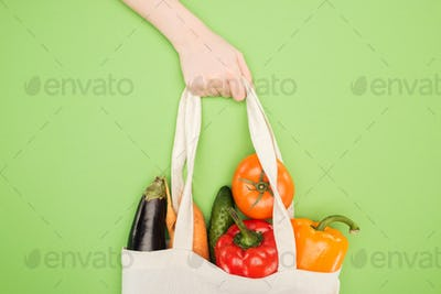 cropped view of woman holding handle of cotton bag full of ripe vegetables