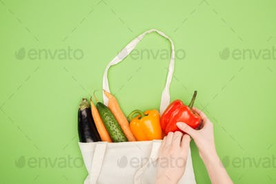 cropped view of woman putting colorful vegetables in cotton bag on light green background