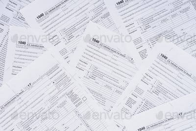 top view of background with tax forms and copy space