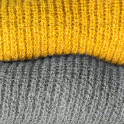 Illuminated yellow and gray wool sweater