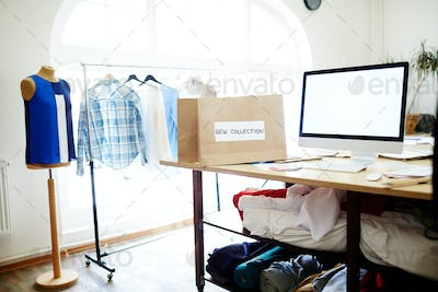 Workplace of clothes designer