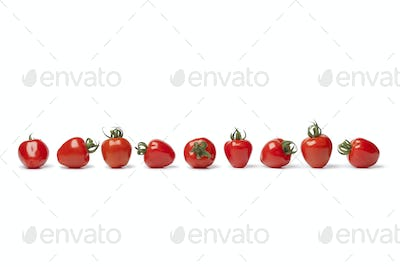 Strawberry tomatoes in a row