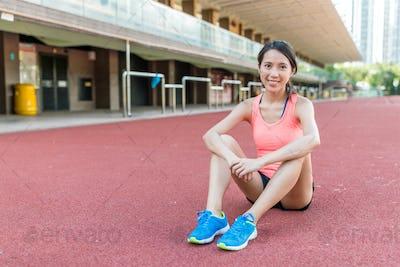 Sport woman in sport stadium