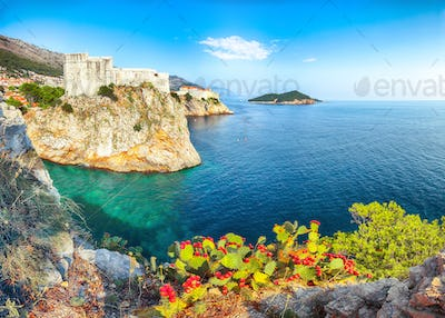 Aerial view at famous travel destination city of Dubrovnik - Fort Lovrijenac on a sunny day
