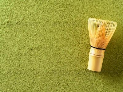 Powdered green tea Matcha and bamboo whisk