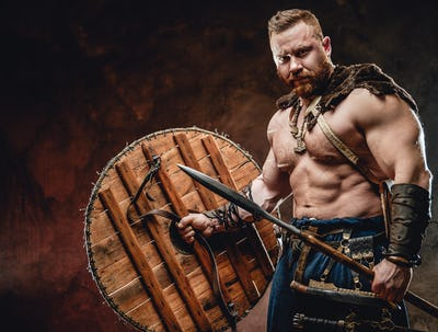 Armed with spear handsome viking in dark red background