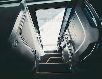 Entrance of an intercity regular bus