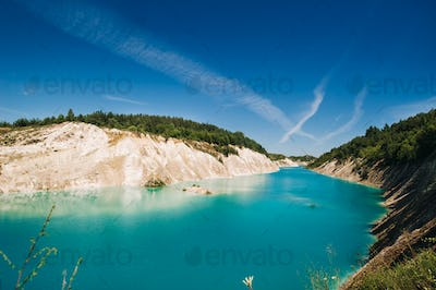 Volkovysk chalk pits or Belarusian Maldives beautiful saturated blue lakes. Famous chalk quarries