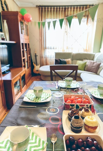 Decorated living room for breakfast party