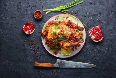 Chicken roasted with pomegranate