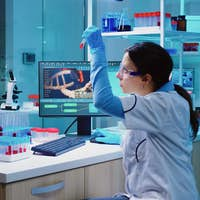 Group of scientists wearing lab coat working in laboratory