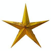 Old rusted five-pointed yellow metal star