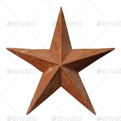 Old rusted five-pointed metal star