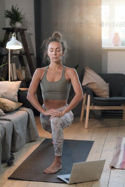 Woman exercising at home