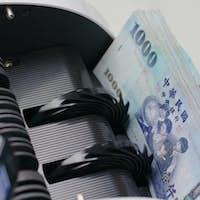 Money counter machine counting New Taiwan dollar