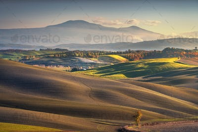 Countryside landscape, rolling hills and Mount Amiata. Monteroni d'Arbia, Siena, Tuscany. Italy