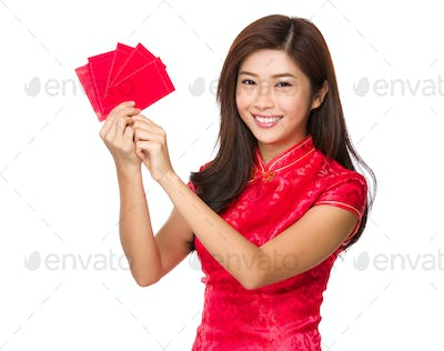 Chinese woman hold with lucky money