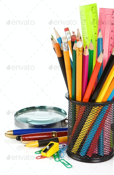 school accessories isolated on white