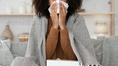 Sick woman cough, sneeze, blowing nose, suffer from fever
