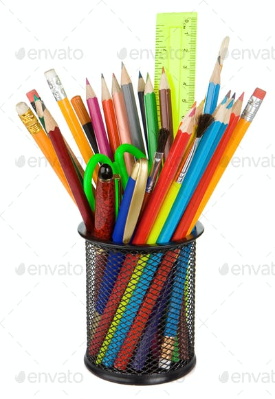 school accessories in holder isolated on white