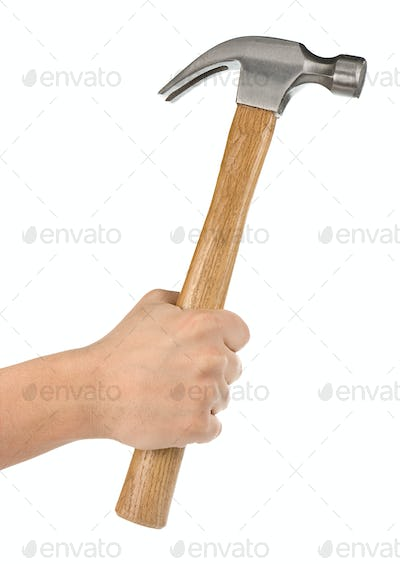 hand holding hammer isolated on white