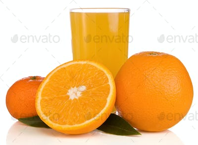 juice and orange on white isolated on white