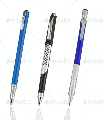 blue and black shining pens isolated on white