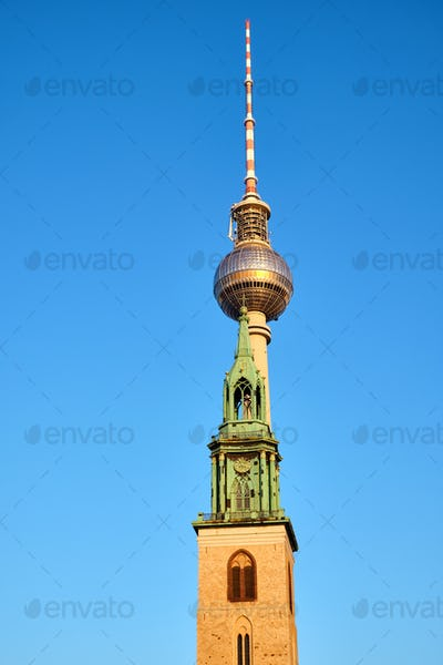 The famous Television Tower and the tower of the Marienkirche