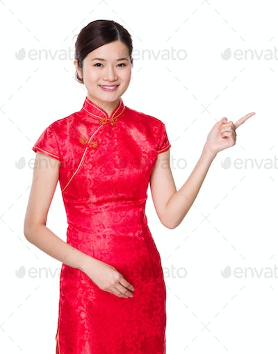 Chinese woman with finger point up